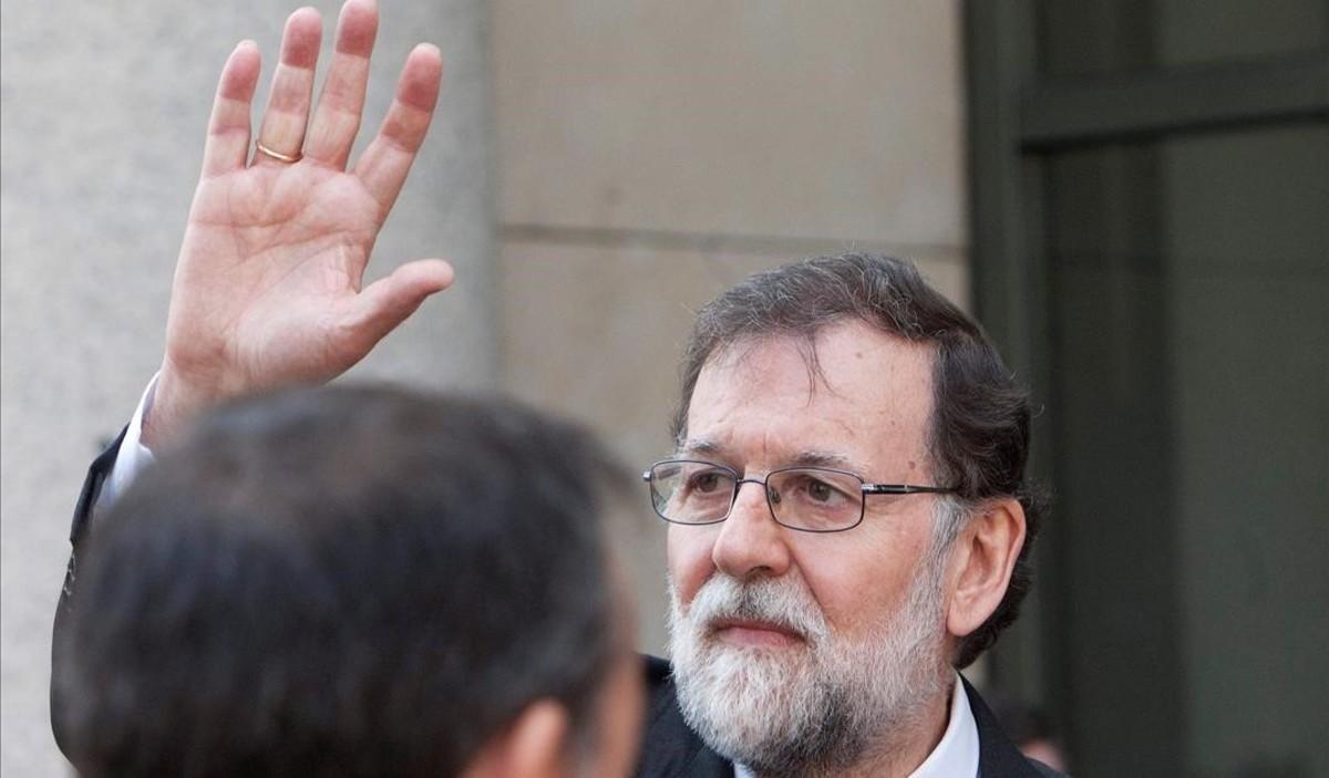 Mariano Rajoy a la salida de un acto celebrado en Pontevera el pasado lunes.
