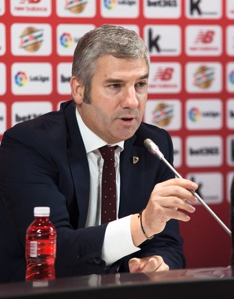 Josu Urrutia, presidente del Athletic, este miércoles en Bilbao.