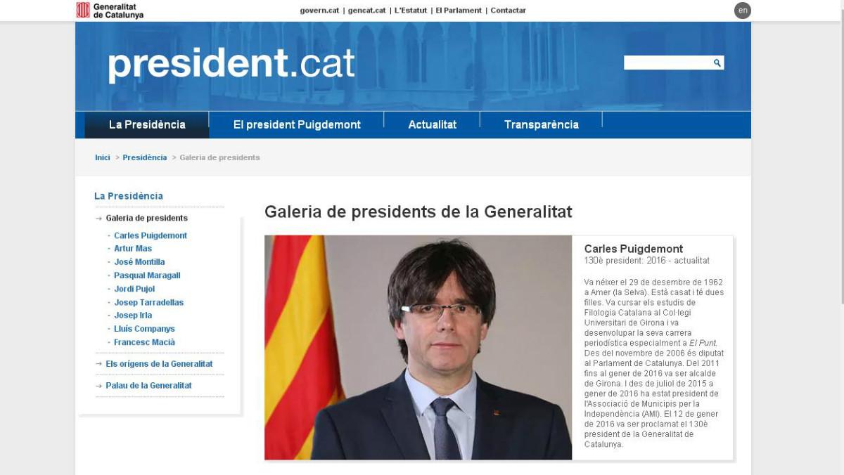 Reactivada en el exilio la web del president