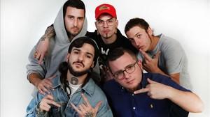 Cinco de los seis miembros de la PAWN Gang, de izquierda a derecha, Willfree, Yung Mare, Goodjan, Monrra yTeuma.