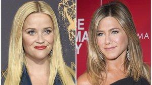 Las actrices Reese Witherspoon y Jennifer Aniston, estrellas contratadas por Apple para sus proyectos en su plataforma de televisión por 'streaming'.
