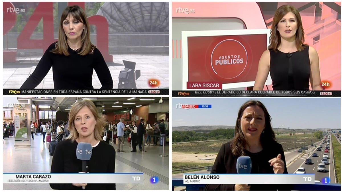 Presentadoras y reporteras de TVE vestidas de negro en protesta contra el control gubernamental de la televisión estatal.