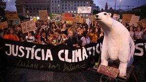 Manifestación contra el cambio climático en Barcelona.