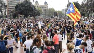 Protesta en contra de la sentencia del Procés, en la plaza de Catalunya, el día 14 de octubre.