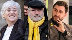 Los exconsellers del Govern de Carles Puigdemont Clara Ponsatí,Lluís Puig y Toni Comín