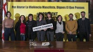 Presentación de la medida de gobierno contra la violencia machista, este lunes en el ayuntamiento.