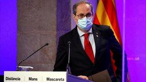 El presidente de la GeneralitatQuim Torradurante la comparecencia que ha realizado este lunesen la que ha asegurado queno aceptala decision judicial de la magistrada que ha rechazado el confinamiento parcial en el Segria (Lleida9