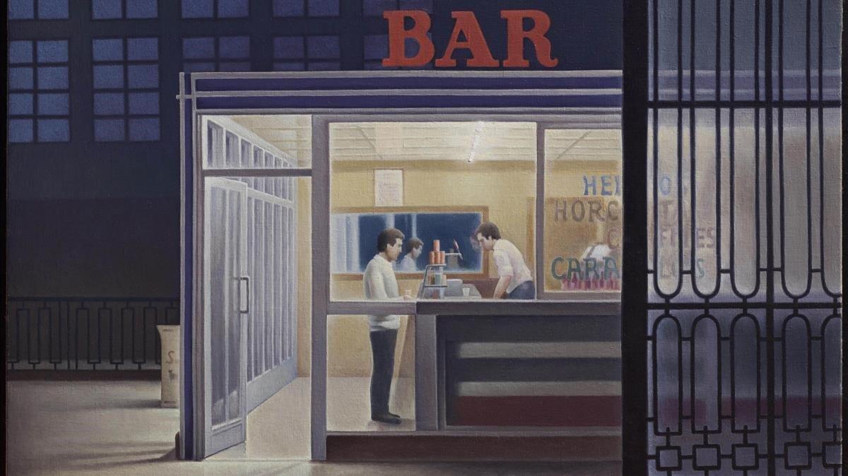 Bar de la estación de la Sagrera, óleo sobre lienzo pintado por Spinola en1981.