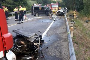 El accidente de Vidreres en el que perdieron la vida cuatro jóvenes que ocupaban un turismo.