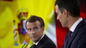 Macron y Sánchez, durante la rueda de prensa que han concedido tras su reunión en la Moncloa.