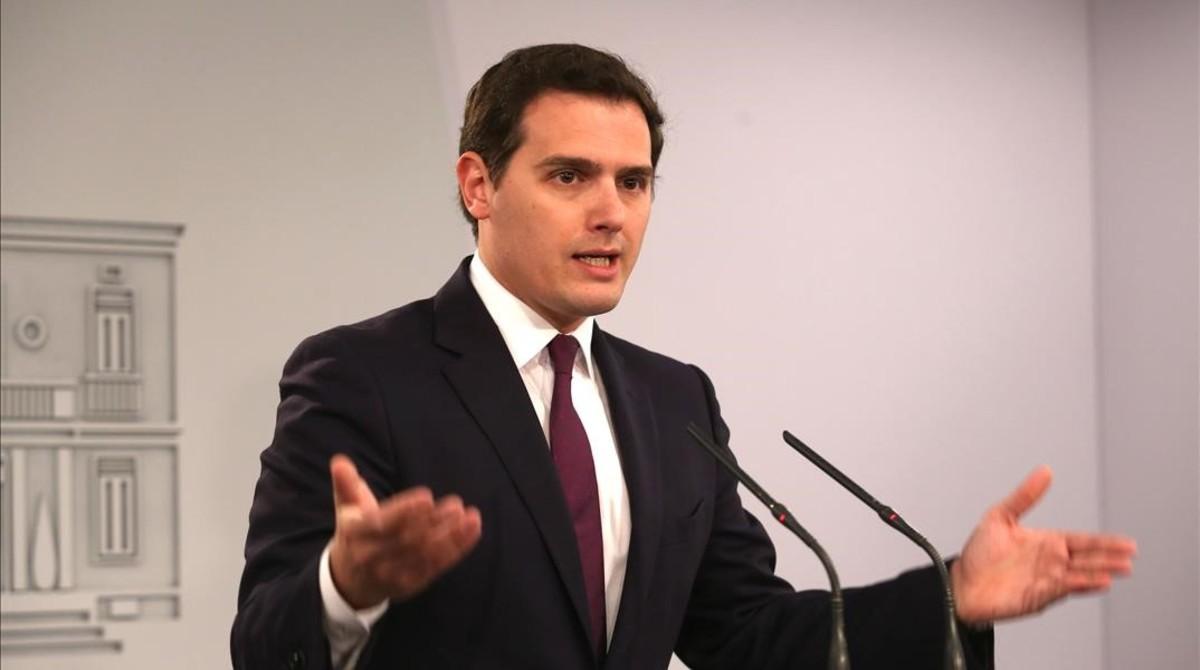 Albert Rivera, este jueves tras su reunión con Mariano Rajoy en la Moncloa.