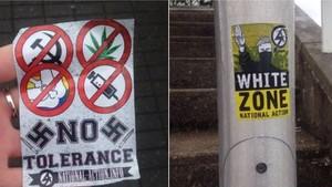 Algunas de las pegatinas neonazis que han aparecido este fin de semana en Reino Unido.