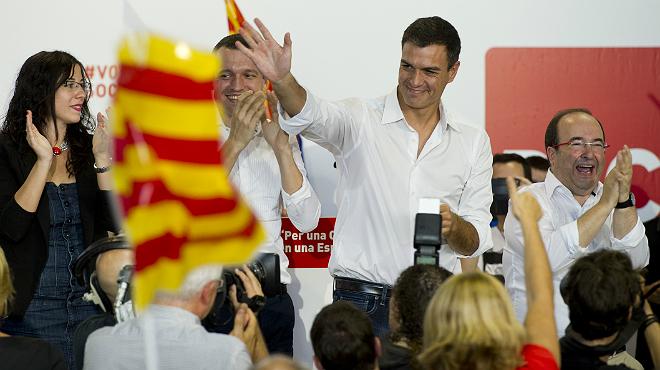 Miquel Iceta y Pedro Sánchez, en un acto de campaña en Lleida.