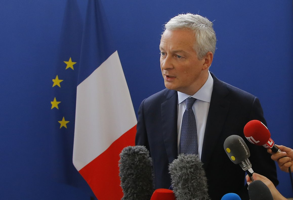 French Finance Minister Bruno Le Maire speaks to the media during a press conference at the finance ministry in Paris, France, Saturday, July 27, 2019. After Trump slammed the foolishness of the tax in a tweet Friday and promised reciprocal action, French Finance Minister Bruno Le Maire said France will implement it anyway.(AP Photo/Michel Euler)