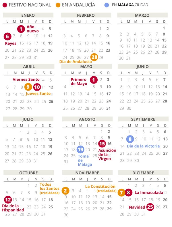 Calendario laboral de Málaga del 2020.
