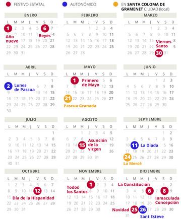 Calendario laboral de Santa Coloma de Gramenet del 2018.