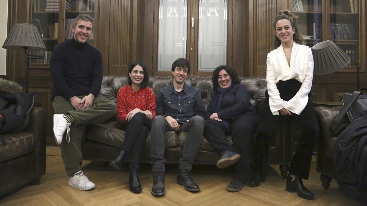 César Esteban Alenda, Celia Rico, José Esteban Alenda, Arantxa Echevarría y Andrea Jaurrieta, en la Academia del Cine Español