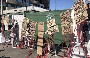 La protesta se produjo enfrente de la comisaría del municipio de San Miguel, cerca de un edificio perteneciente a la Fiscalía Sur.