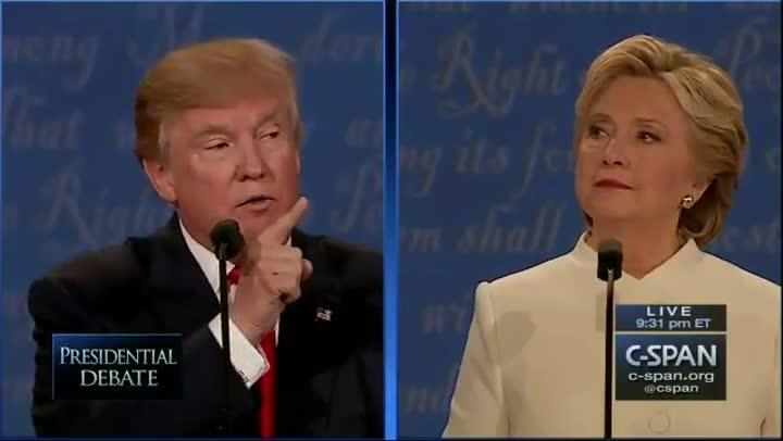 Momento en que Clinton llama a Trump marioneta de Putin.