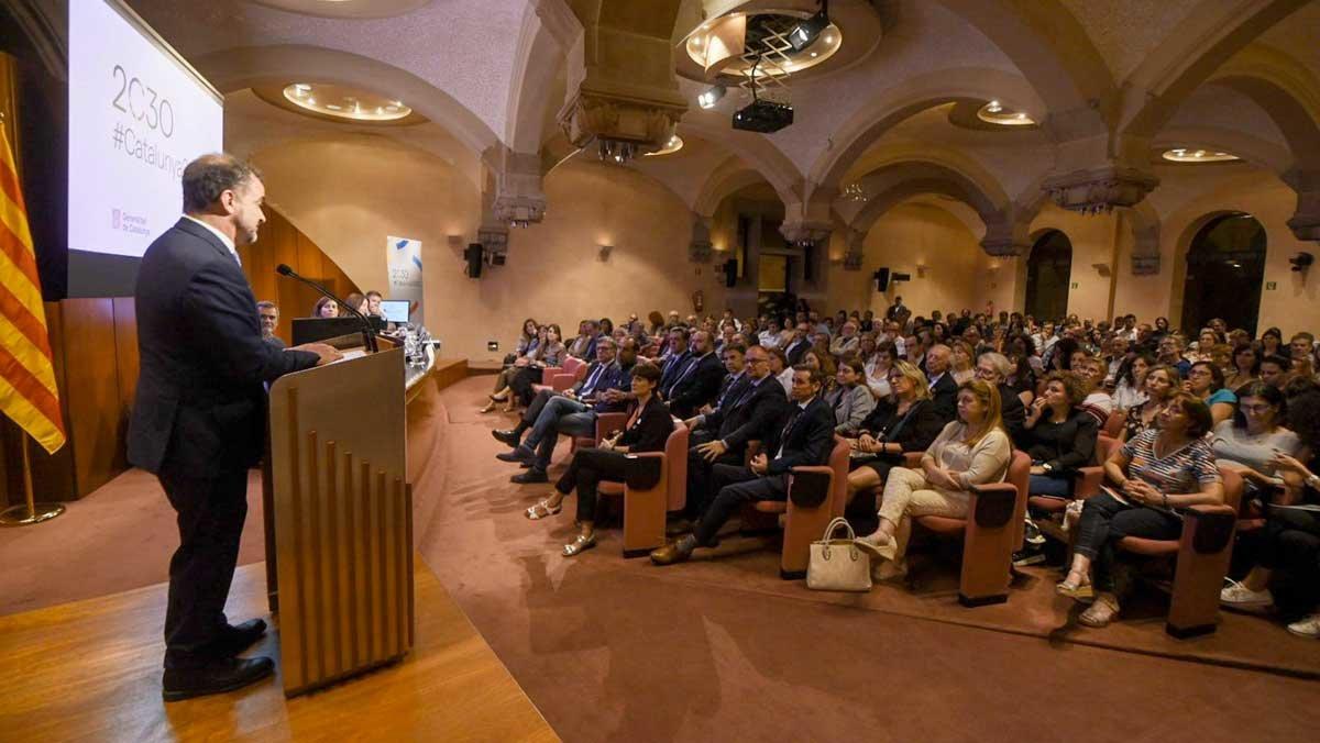 El 'conseller' Alfred Bosch, durante la presentación de los compromisos de la Agenda 2030.