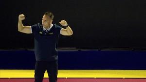 David Martín, seleccionador español, celebra un gol durante el Europeo