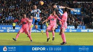 Imagen del derbi Depor-Lugo, en la cuenta oficial de Twitter del Deportivo.