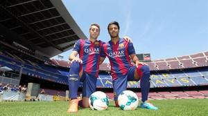 Deulofeu y Rafinha, en su regreso al Barça en el 2014.