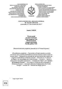 Dictamen del abogado del Tribunal de Justicia de la UE sobre Oriol Junqueras.