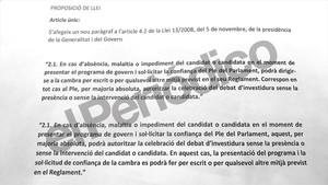 Puigdemont propone una reforma exprés de la ley de la presidencia para poder ser investido
