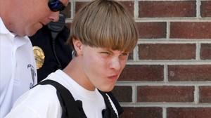 Dylann Roof, tras ser detenido en Shelby (Carolina del Norte), este jueves.