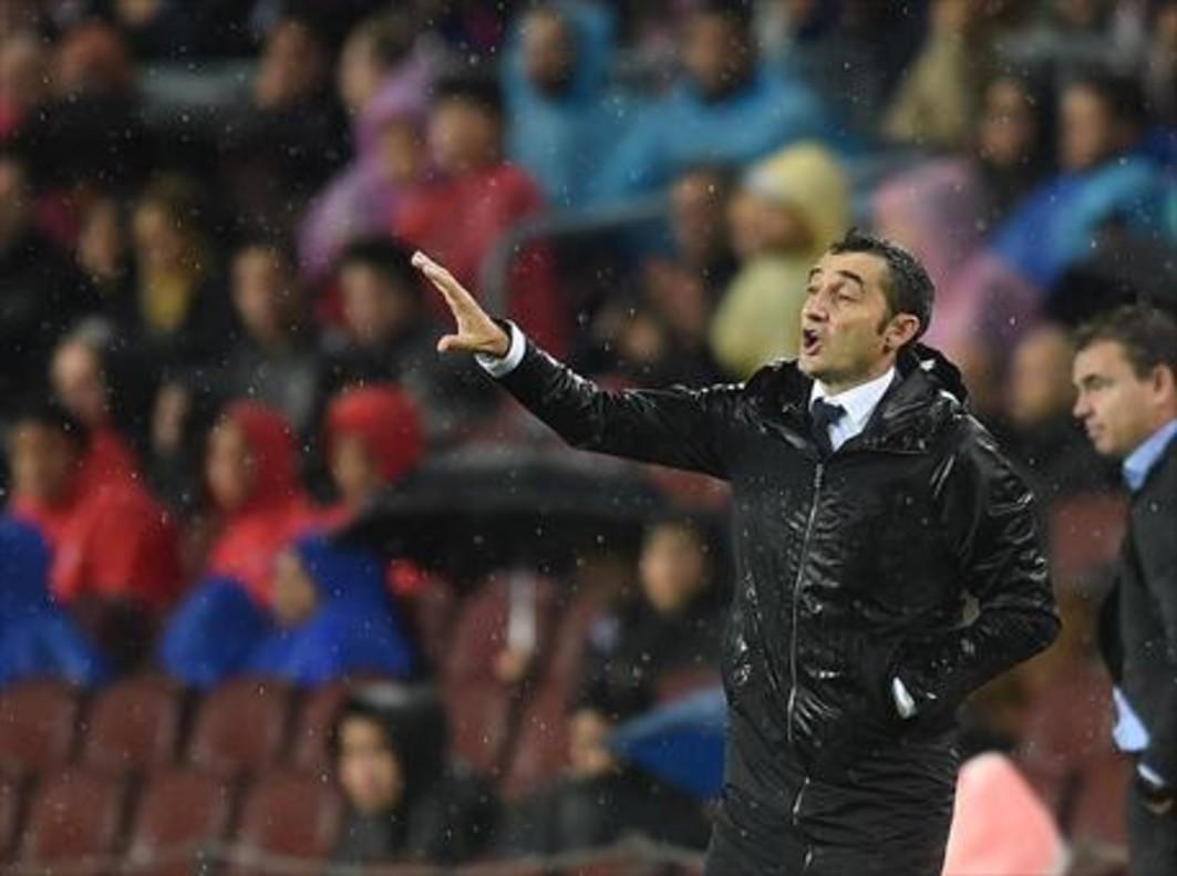 Ernesto Valverde, ayer en el Camp Nou