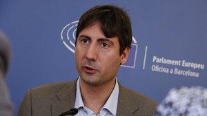 El eurodiputado de ERC, Jordi Solé,en el desayuno informativo en el Colegio de Periodistas.