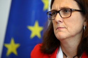 FILE PHOTO: European Trade Commissioner Cecilia Malmstrom attends an interview with Reuters in Geneva, Switzerland June 14, 2019. REUTERS/Denis Balibouse/File Photo