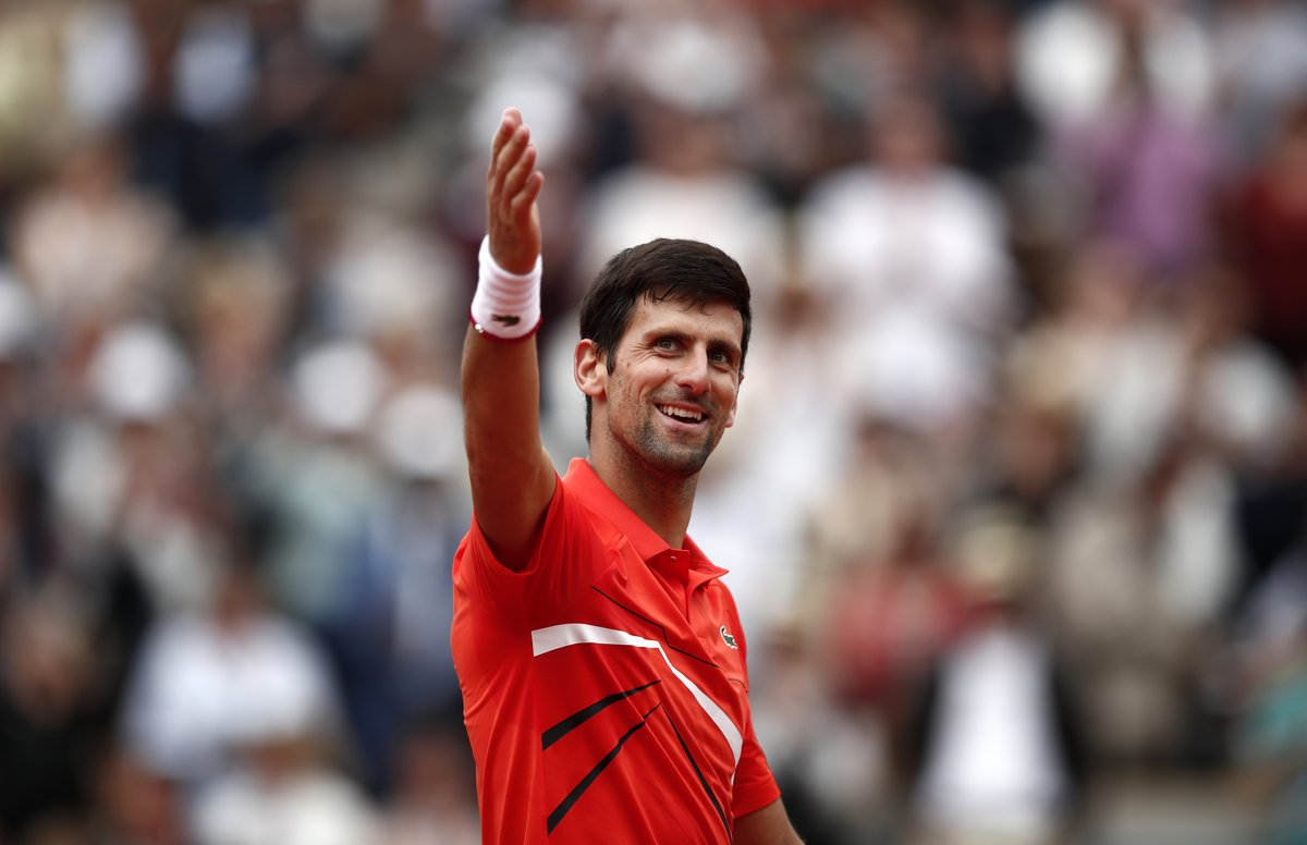 Tennis - French Open - Roland Garros, Paris, France - May 30, 2019. Serbias Novak Djokovic celebrates after winning his second round match against Switzerlands Henri Laaksonen. REUTERS/Benoit Tessier
