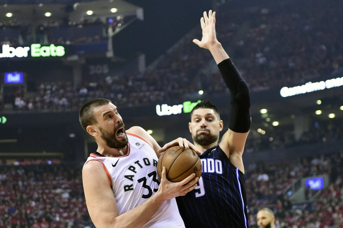Marc Gasol, en una jugada del partido ante los Magic.