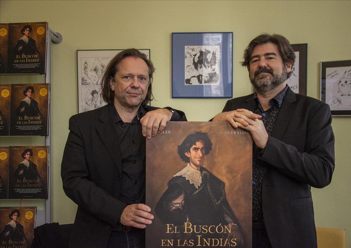 El guionista Alain Ayroles (izquierda) y el dibujante Juanjo Guarnido, durante su visita a Barcelona.
