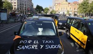 Huelga de taxis en Barcelona el pasado mes de julio.