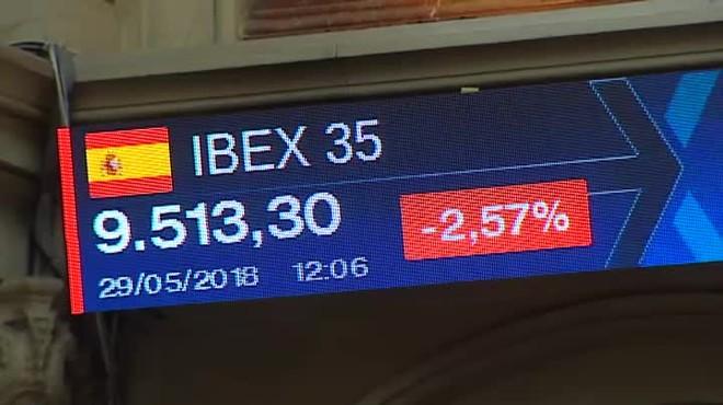 El Ibex 35 cae un 2,5% y la prima de riesgo se dispara.