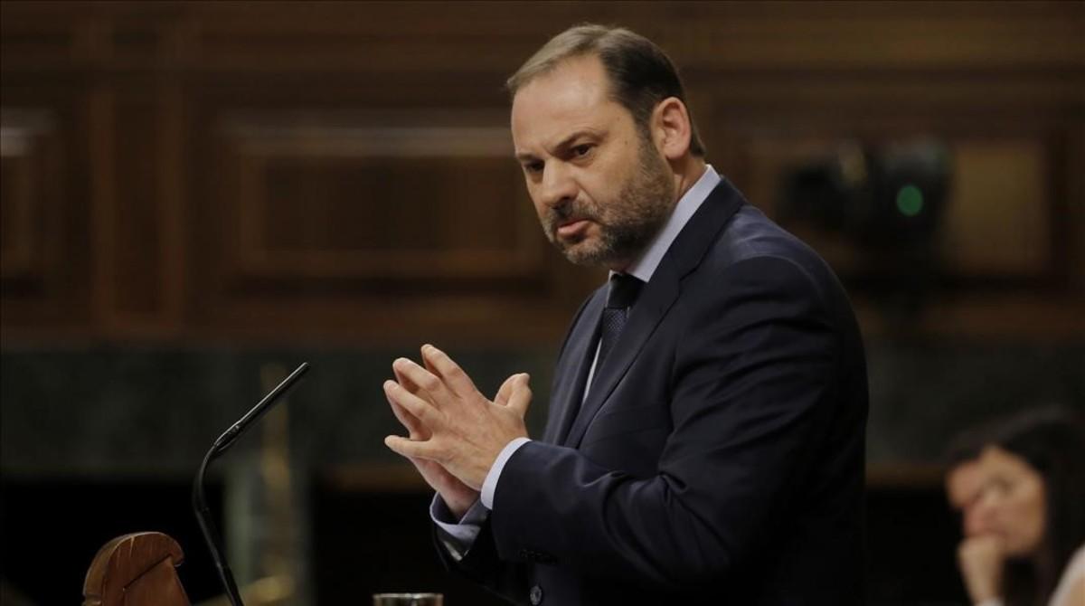 José Luis Ábalos, este miércoles durante el debate de la moción de censura en el Congreso.