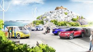 Vehículos eléctricos de Volkswagen en la isla en una imagen hecha por ordenador
