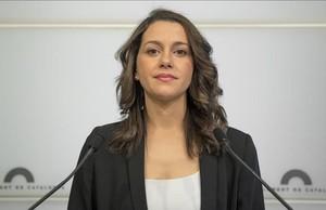 La líder de Ciudadanos en Catalunya, Inés Arrimadas, en una rueda de prensa.