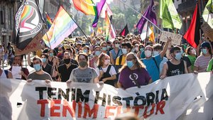 Manifestación del Orgullo LGTBI, este sábado en Barcelona, con el lema 'Tenemos historia, tenemos futuro'.