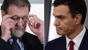 Mariano Rajoy y Pedro Sánchez en dos imágenes de archivo.