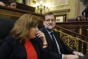 Mariano Rajoy y Soraya Sáenz de Santamaría, este miércoles en el Congreso.