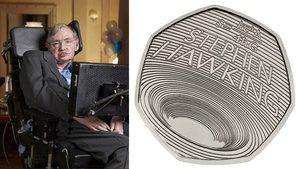 Una imagen del físico junto a la estampa de la moneda conmemorativa