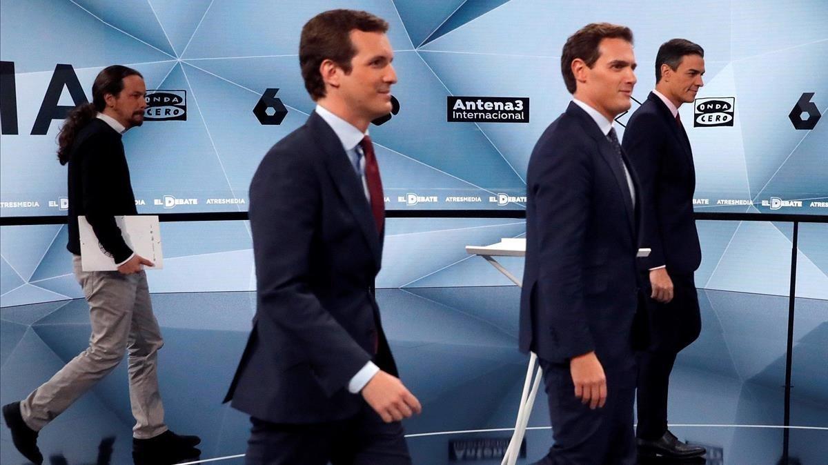 Pablo Iglesias, Pablo Casado, Albert Rivera y Pedro Sánchez, en el debate electoral de Atresmedia del pasado abril.