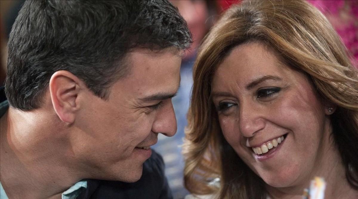Pedro Sánchez y Susana Díaz, en marzo del 2015 durante un mitin en Vicar (Almería).