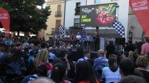 La plaza de La Porxada, de Granollers, ha sido escenario esta tarde de la presentación del GP de Catalunya de MotoGP.