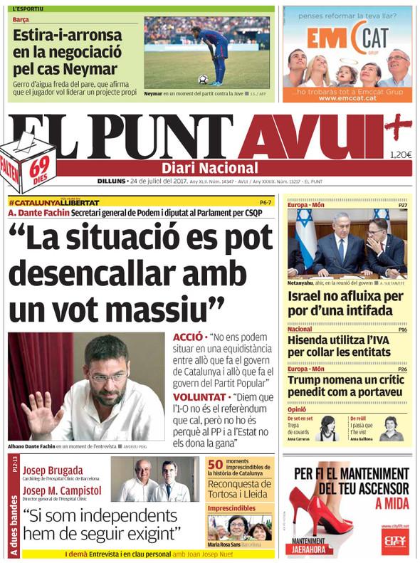 Escriptors i artistes catalans, com Serrat, rebutgen l'1-O, esgrimeix 'El País'