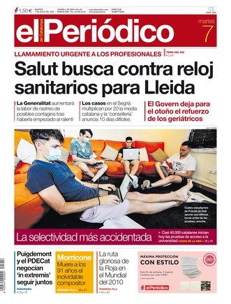 La portada de EL PERIÓDICO del 7 de julio del 2020